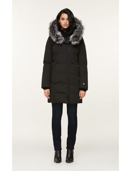 Salma Classic Down Coat With Removable Silver Fur by Soia & Kyo