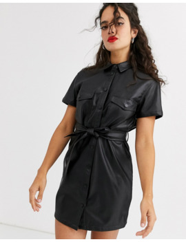 Stradivarius Faux Leather Dress With Tie Waist In Black by Stradivarius'