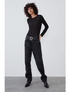 Loose Straight Jeans Met Ceintuur Met Stras by Zara