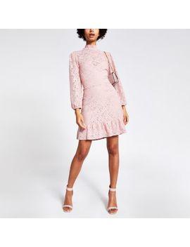 Pink Lace High Neck Ruffle Hem Mini Dress by River Island