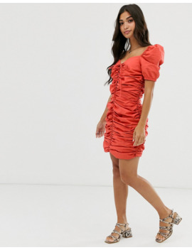 Glamorous Petite Ruched Front Dress With Tie Front by Glamorous