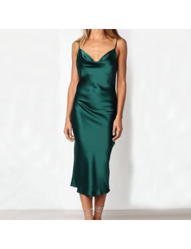 Women Sexy Sling Satin Dresses Sleeveless Sling Off Shoulder Backless Mid Calf Slim Dress Nightdress Party Dresses Vestidos #15 by Ali Express.Com