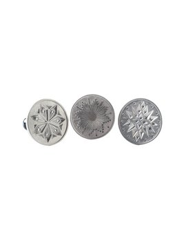 """Nordic Ware Starry Night Heirloom Cookie Stamps, Cast Aluminum With Wood Handles, Makes 3 Different Styles   3"""" Round Cookies by Nordic Ware"""