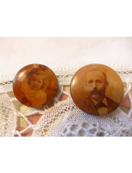Two Antique Victorian Photo Button Brooches, Love Tokens, Sweetheart Pins Or Mourning Items, Look! by Etsy