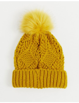 Pieces Chunky Cable Knitted Beanie Hat In Mustard by Pieces
