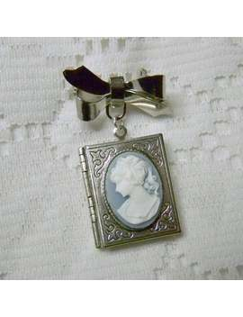 Portrait Cameo Book Locket, Jane Austen, Something Blue, Pony Tail Lady, Victorian Ribbon Bow Pin Brooch Locket, Bouquet Jewelry, Silver by Etsy