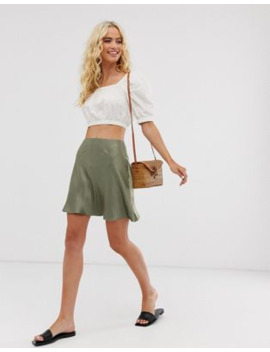 &Amp; Other Stories Satin Mini Skirt In Sage Green by & Other Stories
