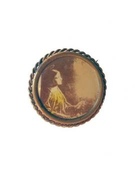 Saint Cecilia Memorial Pin   Vintage Hand Colored Photo Brooch Of Woman   Lady With Halo by Etsy