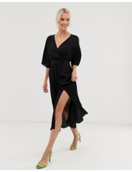&Amp; Other Stories V Neck Midi Wrap Dress With Front Slit In Black by & Other Stories