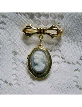 Portrait Cameo Bouquet Pin Locket, Something Blue, Pony Tail Lady, Jane Austen, Regency Ribbon Bow Pin Brooch Locket, Gold Bouquet Jewelry by Etsy