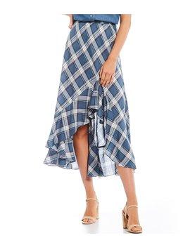 Flounced Hi Low Hem Plaid Midi Skirt by Chelsea & Violet
