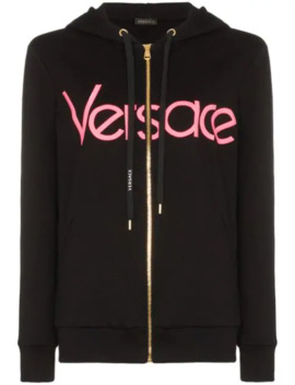 Logo Embroidered Zip Up Hoodie by Versace