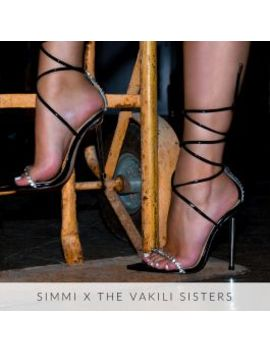 Felicity Black Patent Clear Diamante Lace Up Stiletto Heels by Simmigirl