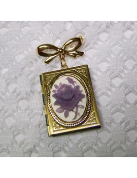 Lavendar Rose Locket Brooch, Wedding Memory Locket, Inspirational Quote Locket, Golden Bow Book Locket, Antiqued Brass Memorial Locket by Etsy