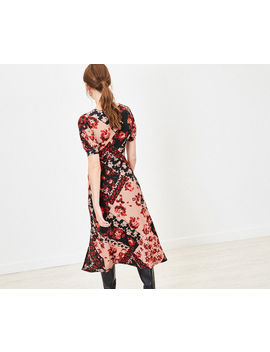 Rose Print Midi Dress by Oasis