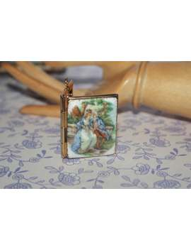 Beautiful Vintage Fragonard Guilloche Classical Picture Enamel Book Locket by Etsy