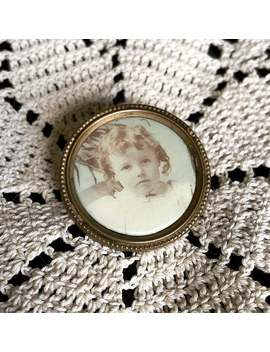 Antique Edwardian • Celluloid Photograph Pin Of A Child by Etsy
