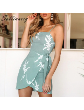 Sollinarry Vintage Wrap Bodycon Short Dress Women Spaghetti Strap Dresses Summer Casual Dress Holiday Floral Plus Size Vestidos by Ali Express.Com