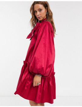 Sister Jane Oversized Mini Smock Dress With Volume Sleeves And Bow In Luxe Satin by Sister Jane