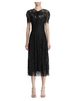Bridget Lace Puff Sleeve Midi Dress by Ralph Lauren Collection