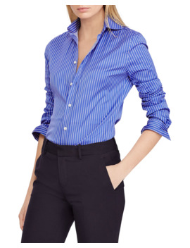 Striped Poplin Button Front Shirt by Ralph Lauren Collection