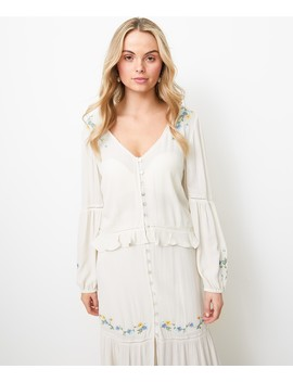 Embroidered Crinkle Blouse by Sportsgirl