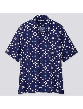 Men The Game Classic Pixels Open Collar Short Sleeve Shirt by Uniqlo