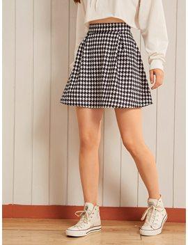 Tweed Houndstooth High Waist Skater Skirt by Shein