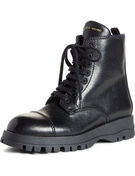 Lace Up Combat Boot by Prada
