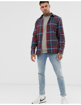 Pull&Amp;Bear Check Shirt In Burgundy by Pull&Bear