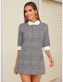 Tweed Contrast Collar Houndstooth Fitted Dress by Shein