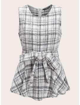 SheinSelf Belted Peplum Tweed Tank Top by Shein