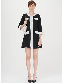 SheinContrast Flap Detail Pearls Detail Tweed Dress by Shein