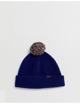 Paul Smith Logo Wool Bobble Beanie In Blue by Paul Smith