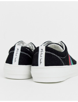 Ps Paul Smith Antilla Suede Trainer With Stripe Detail In Black by Ps Paul Smith