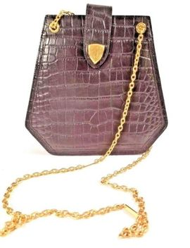 Blaine Trump Black Leather Handbag Faux Croc Gold Chain Handles by Blaine Trump
