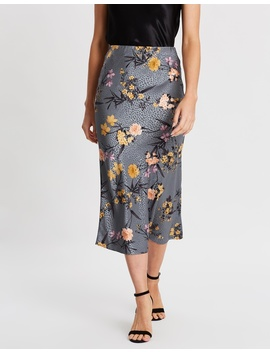 Jacquard Floral Satin Midi Skirt by Dorothy Perkins