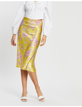 Floral Satin Bias Cut Midi Skirt by Boohoo