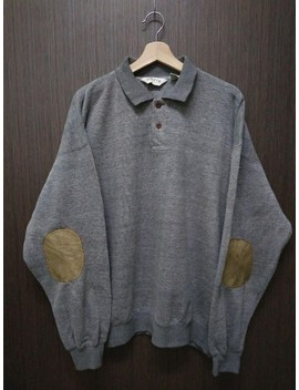 Orvis Leather Elbow Patches Long Sleeve Half Button Shooters Grey Sweatshirt Sweater Jumper Cardigan by Orvis  ×