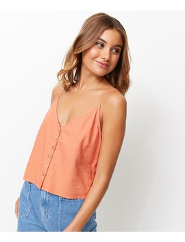 Linen Button Front Cami by Sportsgirl