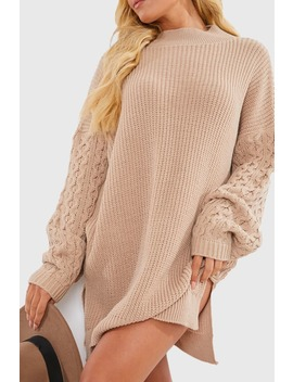 Charlotte Crosby Camel Cable Sleeve Jumper Dress by In The Style