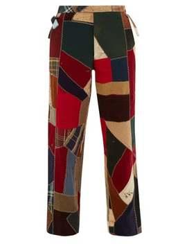 Pantalon Droit En Laine Motif Patchwork by Bode