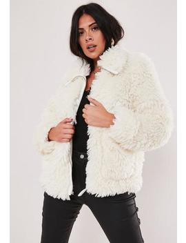 Plus Size White Boxy Oversized Borg Teddy Jacket by Missguided