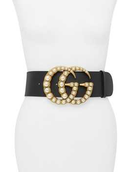 Imitation Pearl Logo Buckle Leather Belt by Gucci