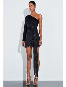 Peace + Love Black One Shoulder Embellished Mini Dress by Missguided