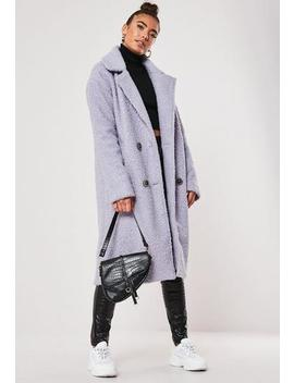Lilac Boucle Double Breasted Cocoon Coat by Missguided