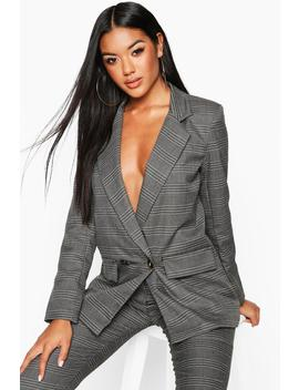 Double Breasted Check Blazer by Boohoo