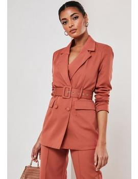 Rust Co Ord Belted Blazer by Missguided