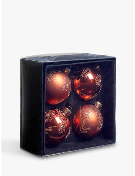 John Lewis & Partners Campfire Decorated Baubles, Box Of 4, Bronze by John Lewis & Partners