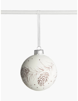 John Lewis & Partners Snowscape Painted Pinecone Bauble, White by John Lewis & Partners